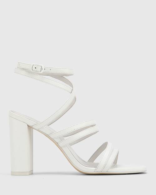 Radical White Leather Block Heeled Strappy Sandal.