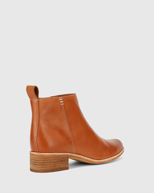 Glover Brandy Leather Flat Almond Toe Ankle Boot