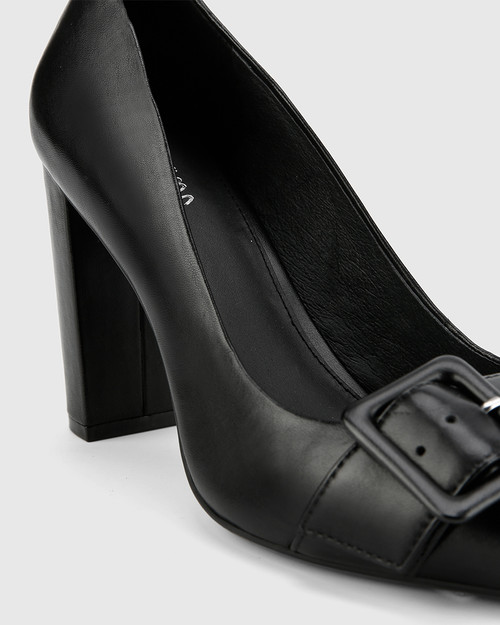 Hamzel Black Nappa Leather Buckle Block Heel.