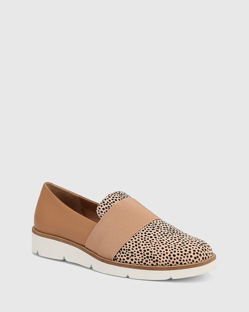 Jacintha Nude/Sunkissed Tan Hair-on Leather Loafer