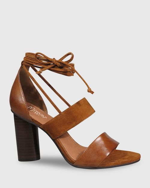 Rolland Cognac Leather & Suede Block Heel Sandal.