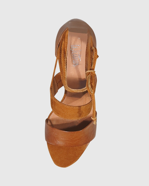 Rolland Cognac Leather & Suede Block Heel Sandal