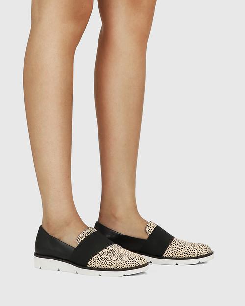 Jacintha Black Leather/Natural Dot Hair-on Leather Loafer