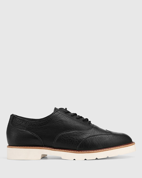 Divo Black Leather Lace Up Brogue