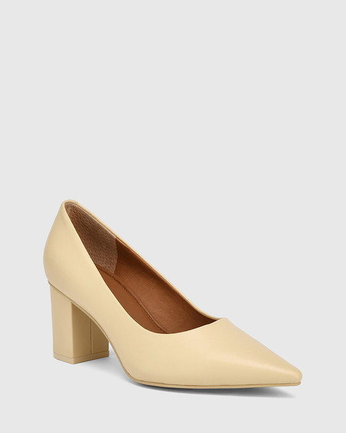 Penrose Sand Leather Block Heel Pump