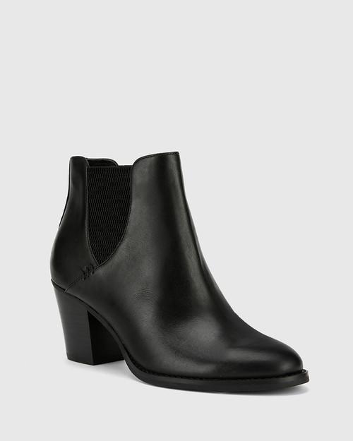 Kessie Black Leather Round Toe Stack Heel Ankle Boot.