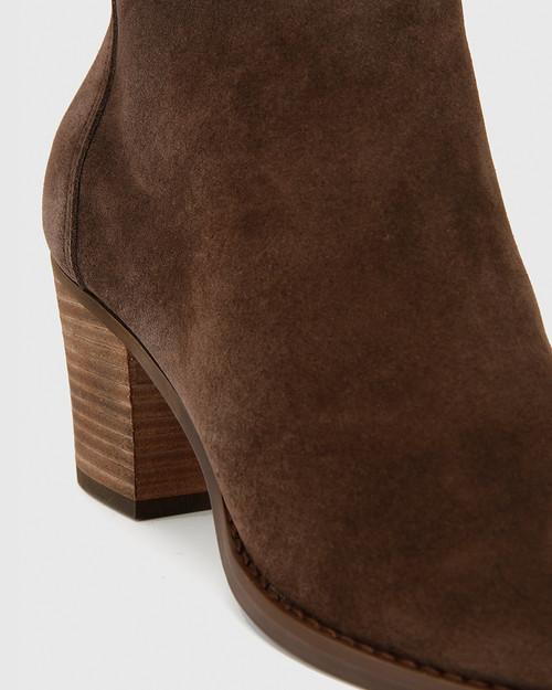 Kylar Brown Suede Block Heel Ankle Boot. & Wittner & Wittner Shoes
