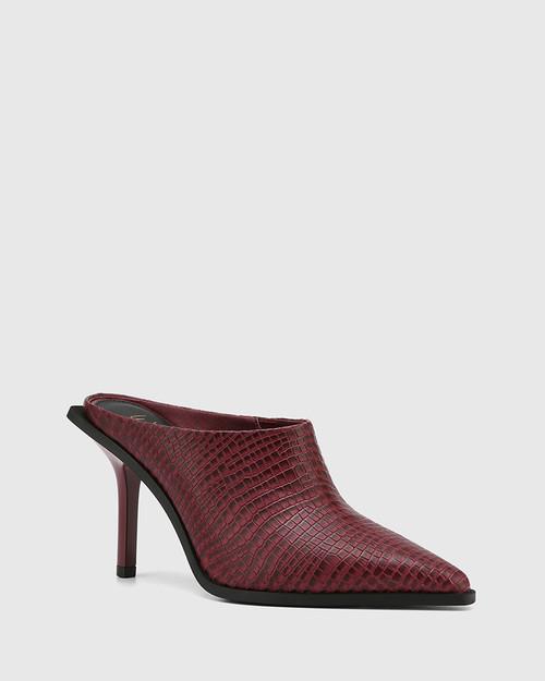 Hoylia Bloodstone Croc-Embossed Leather Mule