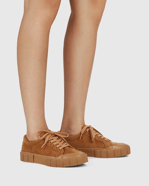Xylon Tan Corduroy Lace Up Sneaker