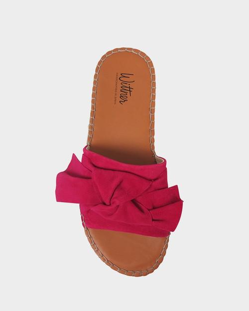 Uzzi Hot Pink Suede Bow Detail Flatform Slide.