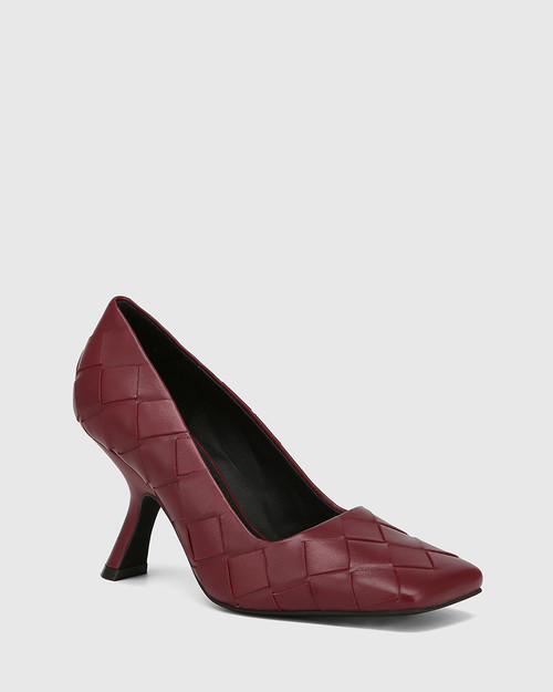 Xavi Bloodstone Woven Leather Slanted Stiletto Heel Pump