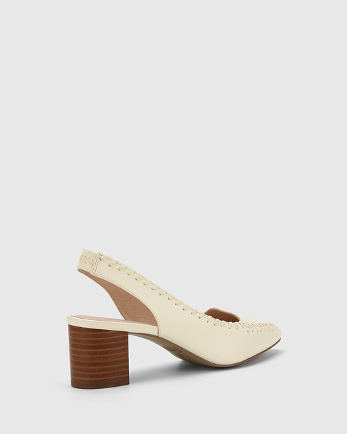 Levana Buttercream Leather Slingback Block Heel. & Wittner & Wittner Shoes