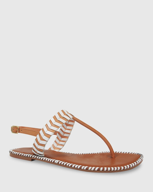 Illiana Tan & White Leather Flat Sandal.