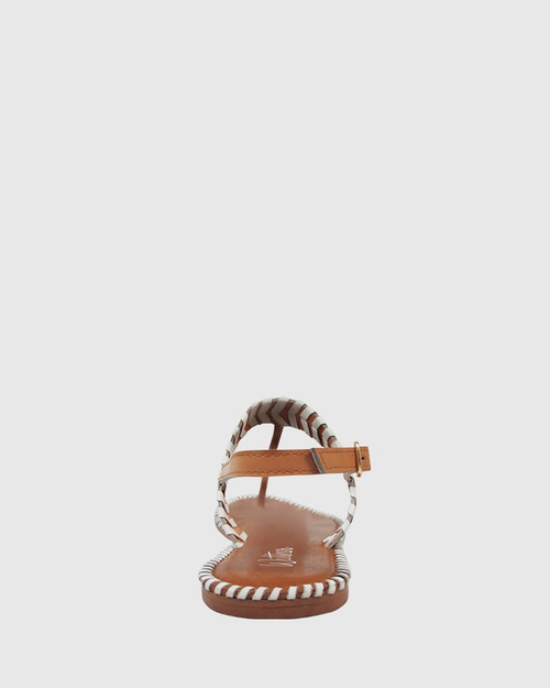 Illiana Tan & White Leather Flat Sandal. & Wittner & Wittner Shoes