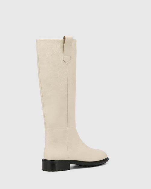 Dericka Vintage Ivory Leather Long Boot