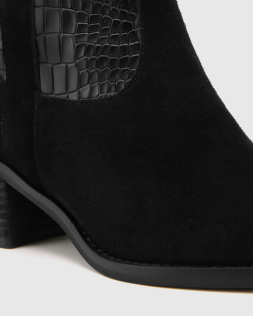 Jimmie Black Suede Leather Croc-Embossed Ankle Boot