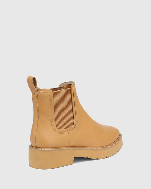 Comika Camel Leather Rubber Sole Ankle Boot