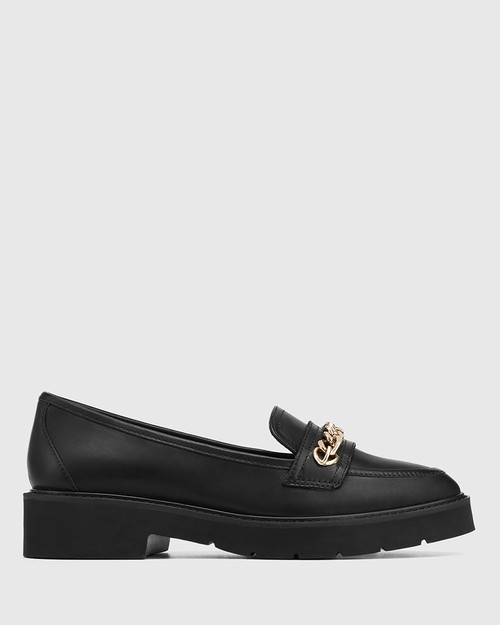 Carniote Black Leather Chain Detail Loafer