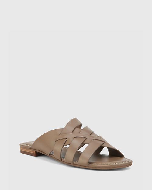 Caitlyn Mocha Leather Multi-Strap Slide. & Wittner & Wittner Shoes