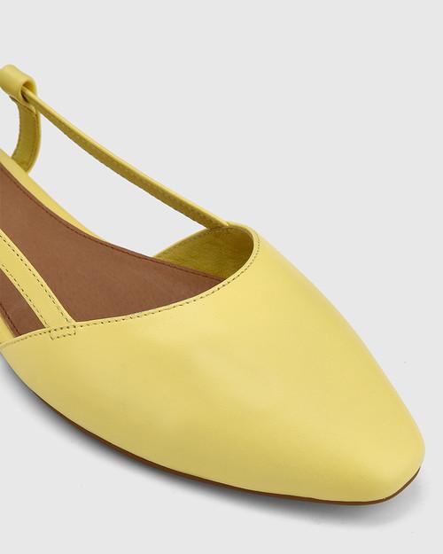 Edelpha Sunshine Yellow Leather Slingback Flat. & Wittner & Wittner Shoes
