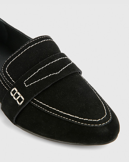 Abelon Black Suede Stitched Flat Penny Loafer.