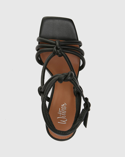 Roxanne Black Leather Flared Heel Strappy Sandal
