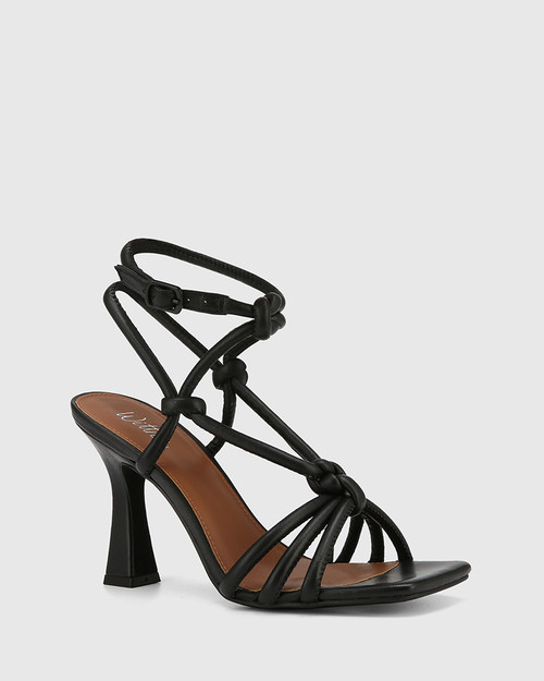 Roxanne Black Leather Flared Heel Strappy Sandal