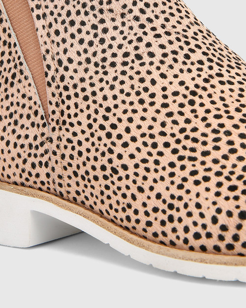 Jemina Nude Dot Print Hair-on Leather Ankle Boot