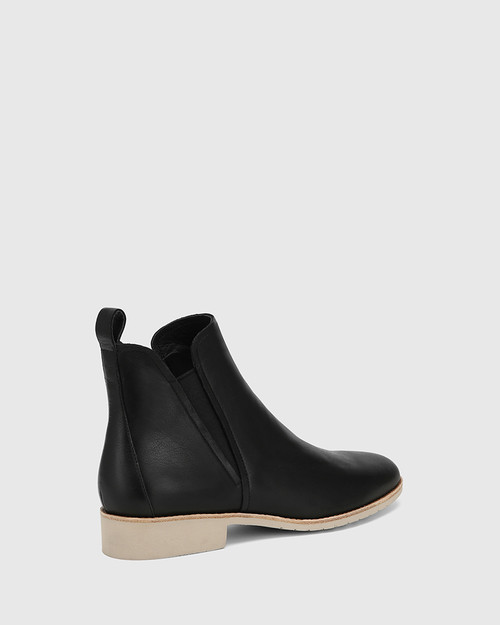 Jemina Black Leather Ankle Boot
