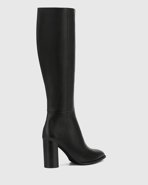Hensley Black Leather Block Heel Long Boot