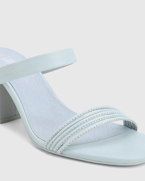 Christiano Sky Blue Leather Slip On Block Heel Sandal. & Wittner & Wittner Shoes