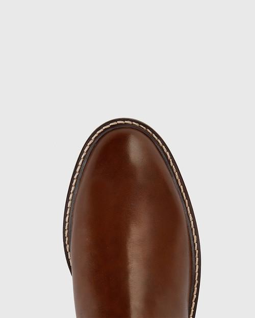 Denton Dark Brown Leather Round Toe Long Boot. & Wittner & Wittner Shoes