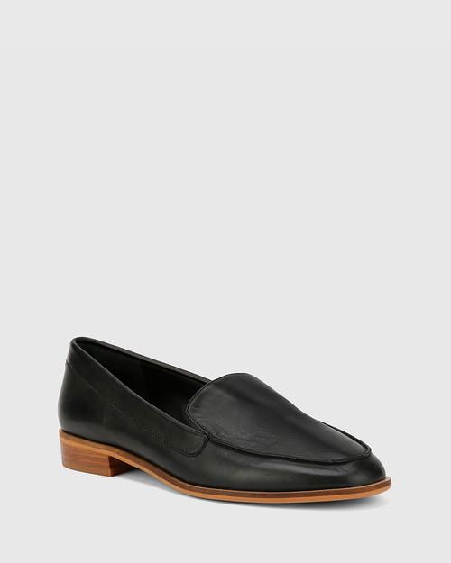 Havarra Black Leather Almond Toe Loafer.