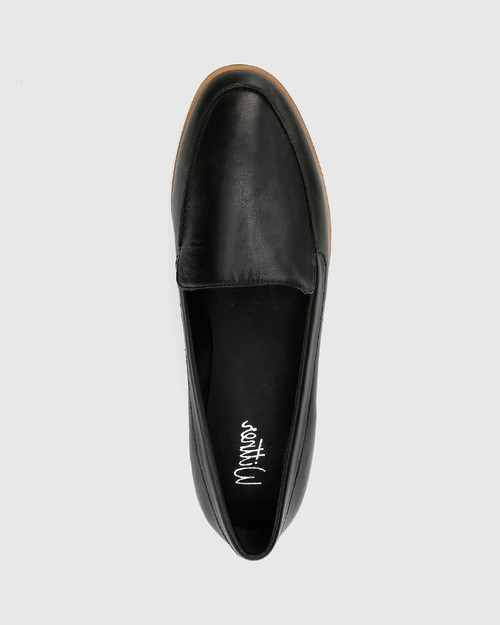 Havarra Black Leather Almond Toe Loafer. & Wittner & Wittner Shoes