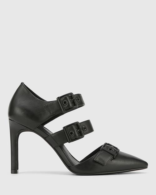 Hetika Black Leather Pointed Toe Stiletto Heel. & Wittner & Wittner Shoes