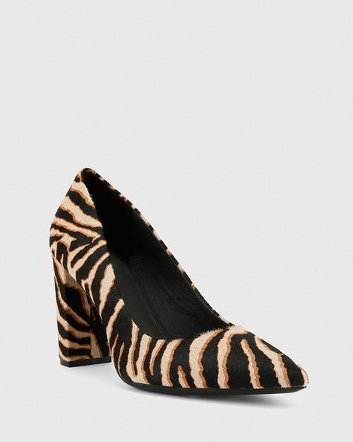 Hether Zebra Hair-On Leather Pointed Toe Block Heel. & Wittner & Wittner Shoes