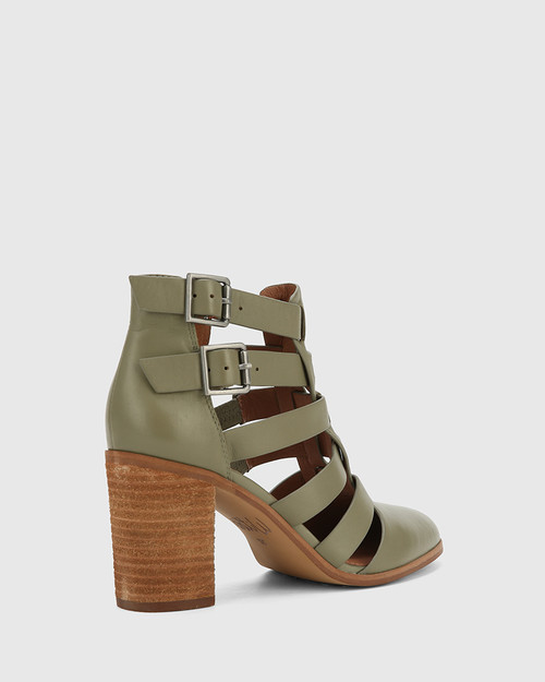 Radcliffe Utility Green Leather Strap Detail Block Heel Ankle Boot. & Wittner & Wittner Shoes