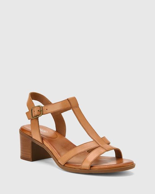 Kendally Tan Leather Open Toe Block Heel Sandal. & Wittner & Wittner Shoes