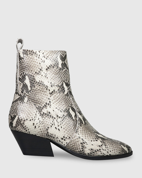 Kansas Snake Print Leather Western Style Ankle Boot.