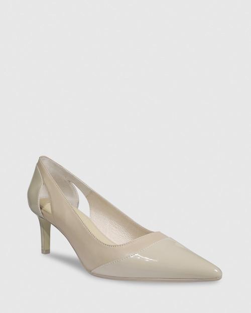 Dewan Nude Patent Leather Stiletto Heel.