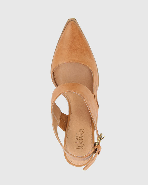 Holdo Toffee Leather Block Heel Pointed Toe Pump.