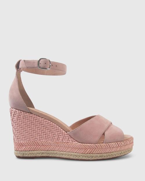 Valeria Dusty Rose Suede Open Toe Wedge. & Wittner & Wittner Shoes