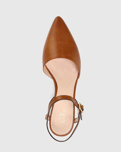 Aletta Dark Cognac Leather Pointed Toe Block Heel. & Wittner & Wittner Shoes