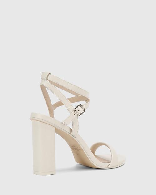 Raven Winter White Leather Open Toe Block Heel. & Wittner & Wittner Shoes