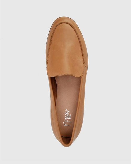 Havarra Brandy Leather Almond Toe Loafer. & Wittner & Wittner Shoes