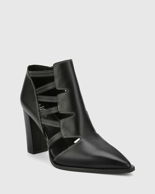 Hiolair Black Leather Multi Strap Bootie.