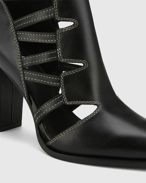 Hiolair Black Leather Multi Strap Bootie. & Wittner & Wittner Shoes