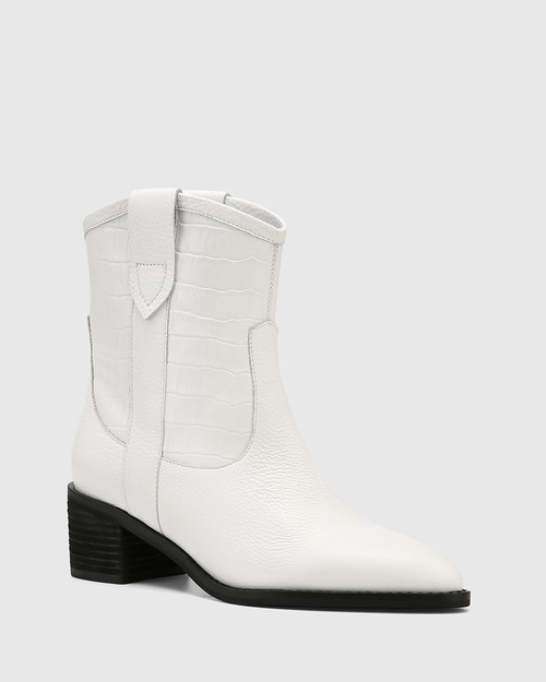 Jimmie White Leather Croc Embossed Ankle Boot