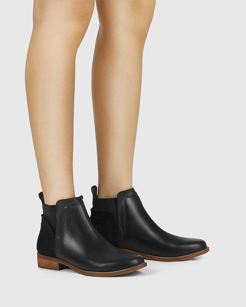 Conagh Black Leather And Suede Ankle Boot