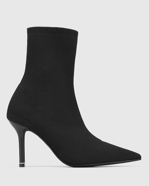 Qadira Black Recycled Flyknit Pointed Toe Ankle Boot